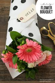 diy flower bouquet with polka dot stamped paper by the casual craftlete for livelaughrowe