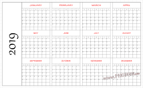 Blank Printable 2019 One Page Calendar Free August 2019