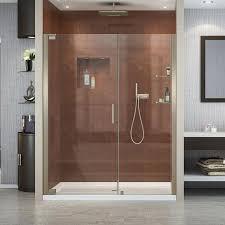 dreamline elegance 56 25 in to 58 25 in frameless brushed nickel pivot shower door