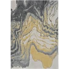 8 x 11 large slate gray and yellow area rug bleeker