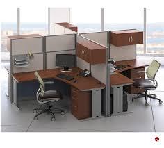 ades cer of 4 person l shape office desk cubicle workstation