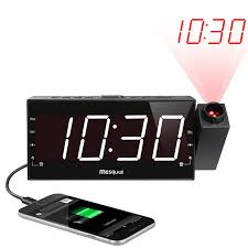 mesqool am fm digital dimmable projection alarm clock radio with 1 8 led display usb charging dual alarm battery backup