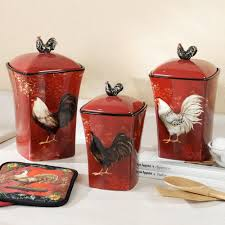 rooster canister red kitchen