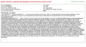 Physical Medicine And Rehabilitation Physician Job Cover Letter