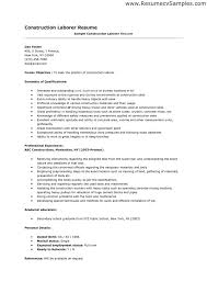Laborer Resume Examples General Labor Cover Letter Resume Cv Cover