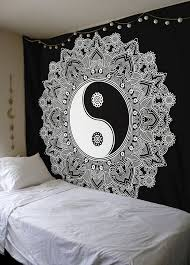 black and white yin yang wall hanging indian traditional cotton printed mandala bohemian hippie large wall on black art tapestry wall hangings with mandala tapestry wall hangings for sale discount wall tapestries