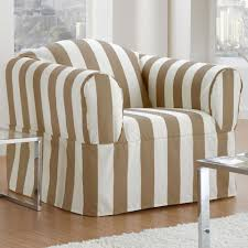 Living Room Chair Slipcovers Sure Fit Cabana Stripe Resort Collection Chair Slipcover In Biscuit