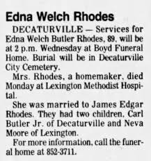 Obituary for Edna Welch Butler Rhodes (Aged 89) - Newspapers.com