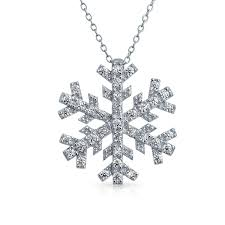 bling jewelry 925 sterling silver cubic zirconia snowflake pendant necklace 16in