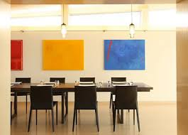 modern dining room colors. Modern Dining Room Idea With Attractive Color Tones Of Yellow Red And Blue Two Pendant Colors
