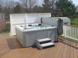 hot tub deck. Upper Level Ipe Hot Tub Deck With Privacy Screen