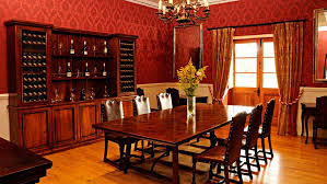 The Dining Room Has Red Walls Red Roof And Red Curtains And This Mesmerizing Red Dining Rooms Collection