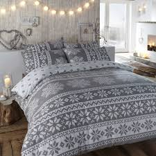 duvet cover in grey winter bedding in a warm flannelette quilt cover set with nordic