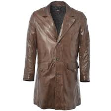 3 4 leather coat brown nap wilsons