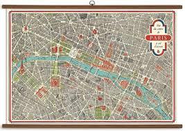 Paris Map Vintage School Chart 999 Products Paris Map