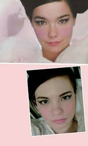 i m always being told i look like bjork so i tried to duplicate my make up like hers