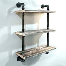 pipe wall shelf pipe l shelf 3 rustic industrial timber shelves floating how to make pipe wall shelf industrial