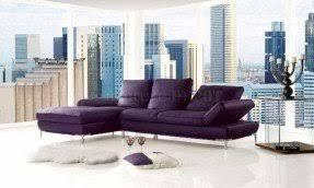 Purple top grain leather modern sectional sofa w adjustable back