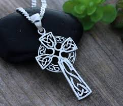 sterling silver celtic cross celtic jewelry irish cross necklace mens necklace father