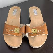 Dr Scholl S Sz 9 Carmel Color Leather Wood Sandals
