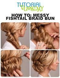 5 minute crown braid messy bun hairstyle
