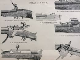 1880 Small Arms Original Antique Steel Engraving - Wesley Richards' Breech  Loader - Snider, Sharp's, Prussian Needle-Gun, Spencer's Repeater