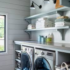 Image Vintage Example Of Farmhouse Gray Floor Laundry Room Design In Atlanta With Open Cabinets Blue Houzz 75 Most Popular Laundry Room Design Ideas For 2019 Stylish Laundry