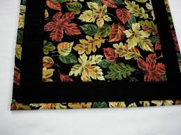 handmade quilted fall short coffee table runner fall leaves on black 14 x27