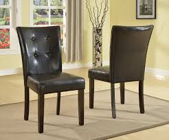 com roundhill furniture blended leather parson dining side chairs with espresso legs black set of 2 chairs