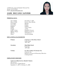 Examples Of Resumes Simple Resume Example Templates Within 89