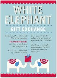 Cute and classic white elephant gift exchange party invite