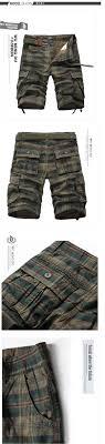 New Mens Fashion Trend Multi Pocket Plaid Shorts