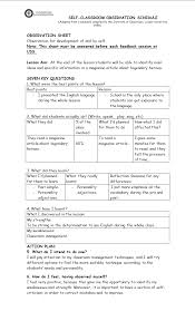 Observation Chart For Students I Uss Self Classroom Observation Chart Teaching