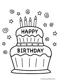 Coloring Pages Birthday Cake Coloring Pages Happydma Free