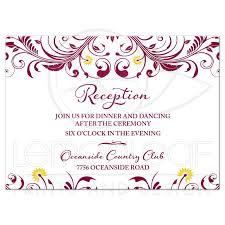 wedding reception card burgundy yellow floral wedding reception insert card