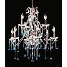 elk lighting once rust aqua crystal nine light chandelier