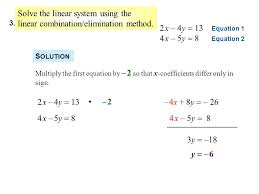 4 solve the linear system using the linear combination elimination method