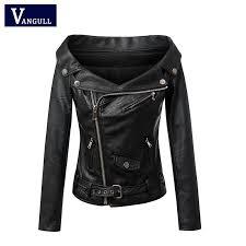 whole woman off shoulder faux leather jacket women motorcycle jacket 2016 spring autumn outerwear coats short zipper basic jackets hooded jacket tweed