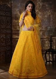 Lehenga Design In Yellow Colour Yellow Chikankari Embroidered Lehenga Choli
