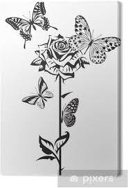 Quadro Su Tela Disegno In Bianco E Nero Di Farfalle E Rose Pixers