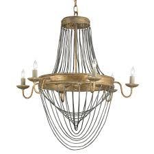 antique gold leaf six light chandelier