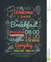 Chalkboard Menu Board Breakfast Cafe Menu Design Typography On Chalk Board Stock