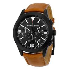 michael kors gareth chronograph black dial brown leather men s watch mk8450