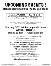 Upcoming Events Flyer Upcoming Events Flyer Mohave Sportsman Club