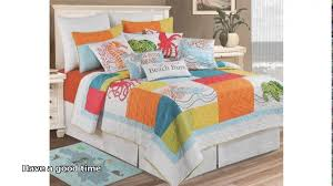 fascinating nautical bedroom with sea horse decorative pillow cover and navy orange yellow bedding set