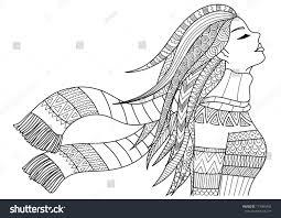 Beautiful Girl Wearing Coat Scarf Winter Stock Vector Royalty Free