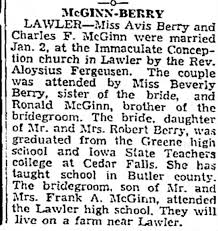 Charles McGinn Avis Berry wedding announcement - Newspapers.com