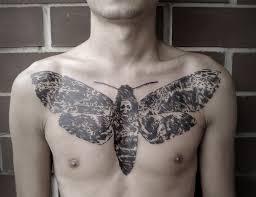 Blackwork Moth Sternum Tattoo Amazing Tattoo Ideas