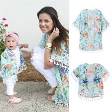 Little Me Clothing Size Chart Us 5 34 32 Off Family Matching Clothe Shirt Mother Daughter Outfits Mom Me Baby Girls Flower Shawl Kimono Cardigan Top Family Outfits Clothing In