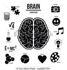 Simple Info Graphics Human Brain Infographics Set Simple Style Human Brain Infographics